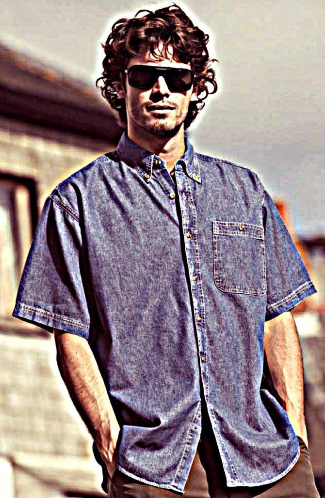 chemise-en-jean-manches-courtes