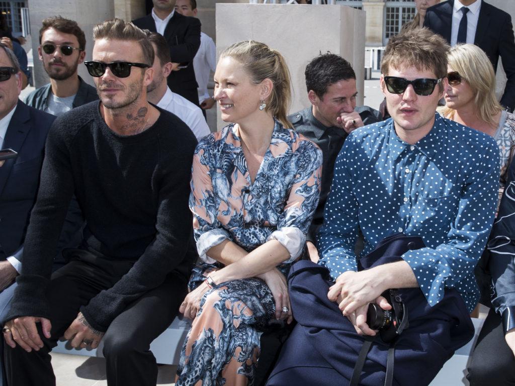 David Beckham, Kate Moss et Nikolai Von Bismarck au défilé de mode Louis Vuitton Hommes printemps-été 2017 au Palais Royal à Paris le 23 juin 2016. © Olivier Borde / Bestimage